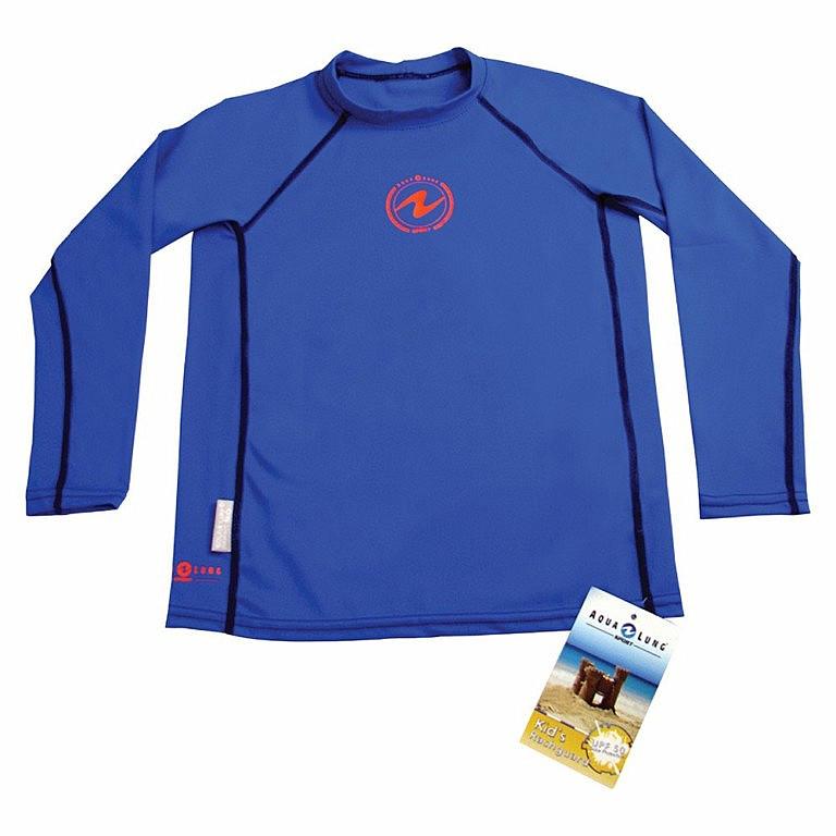 Children 39 s rush guard shirt aqualung rash guard kids blue Rash guard shirts kids
