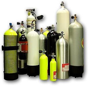 Revize tlakových láhví včetně pískování